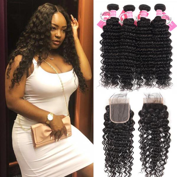 Deep Wave Hairstyles Brazilian Human Hair 4 Bundles With 4 4 Lace Closure Alipearl Hair
