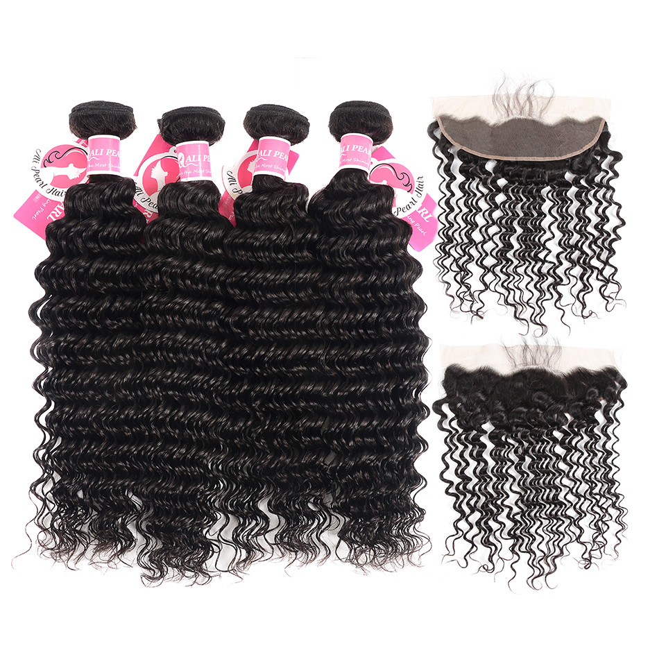 Precise Alipearl Blonde Hair Bundles With Frontal Colored #27 Lace Frontal Closure With Bundles Remy Hair 3/4 Bundles With Closure
