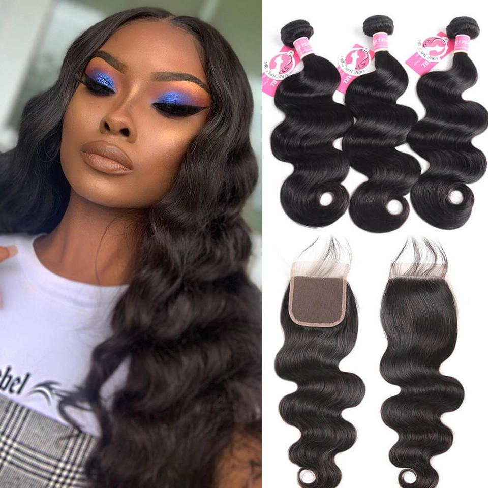 Alipearl Brazilian Body Wave Virgin Hair 3pcs With Lace Closure