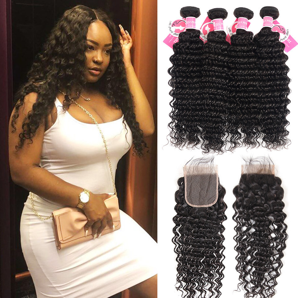 Deep Wave Hairstyles Brazilian Human Hair 4 Bundles With 4*4 Lace ...