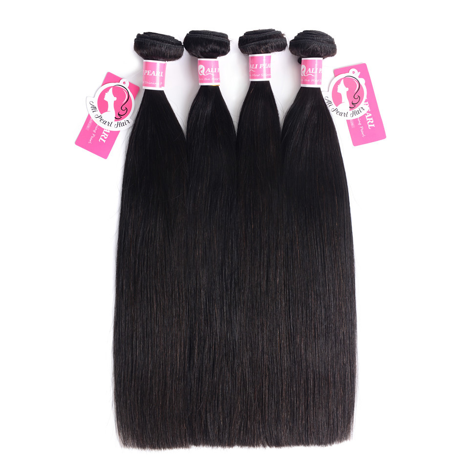 Hair Extensions & Wigs New Fashion Alipearl Hair 100% Human Hair Bundles With Closure Malaysian Straight Hair Weave 3 Bundles Remy Hair Extensions Natural Black