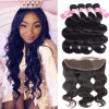 Peruvian Virgin Hair Body Wave 4 Bundles With 13x4 Lace Frontal