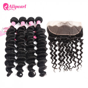 Ali Pearl Hair Loose Deep Wave Virgin Hair 4 Bundles with Lace Frontal 13 x 4 Inch