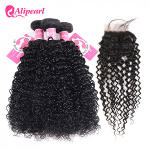 Alipearl Kinky Curly Hair 3 Bundles With 4*4 Lace Closure Soft Brazilian Hair