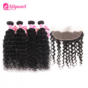 13x4 inch Frontal With 4pcs Natural Wave Alipearl Peruvian Hair
