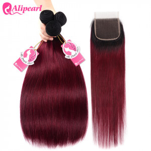 Burgundy Ombre Hair Dark Roots 1B/99J Straight Human Hair Bundles And Closure