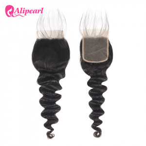 Alipearl Peruvian Hair Loose Deep Wave 4*4 Lace Closure