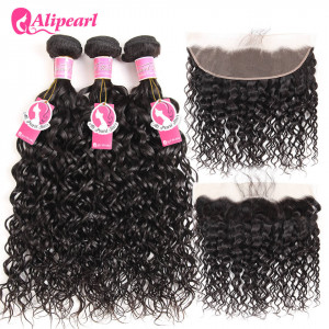 Alipearl Malaysian Virgin Hair 3 Bundles with 13*4 Lace Frontal Natural Wave