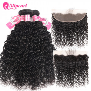 Alipearl 3pcs Natural Wave with 13*4 Lace Frontal Indian Hair