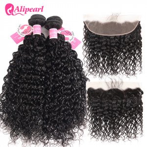 Alipearl Brazilian Hair 4 Bundles Natural Wave with 13*4 Frontal