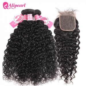 Ali Pearl 3pcs Natural Wave with 4*4 Lace Closure Indian Hair