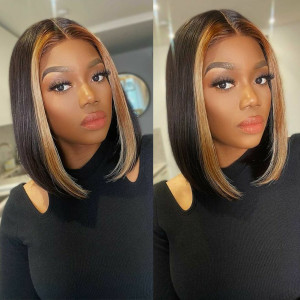 Highlight Bob Wigs Straight Bob Wig With Highlights Streaks In Front Bob Wigs 12 14 16 Inches