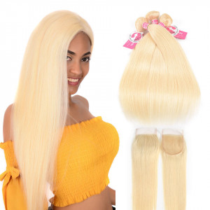 #613 Alipearl Hair 3 Bundles with Lace Closure Brazilian Straight Virgin Hair