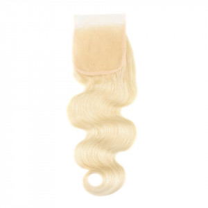 Peruvian Human Hair Body Wave Lace Closure 4X4 inch Pure 613 Color
