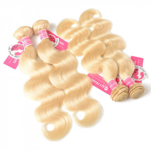 8A Grade Brazilian Virgin Hair 4 Bundles 613 Blonde Body Wave