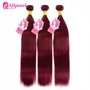 Brazilian Straight Human Hair Pre-Colored Hair Burgundy Weave 3 Bundles