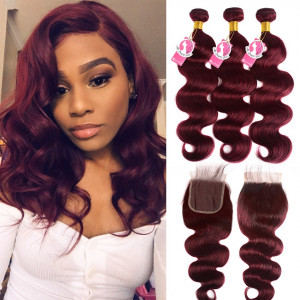 Body Wave Lace Closure With #99J Wine Red Pure Color Human Hair Weft