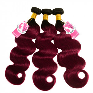 Alipearl Hair Ombre Hair Extensions 3 bundles 1B/Burg Body Virgin Weave Hair