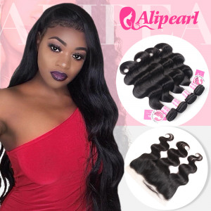 Ali Pearl Malaysian Virgin Hair 4pcs Body Wave with 13*4 Lace Frontal