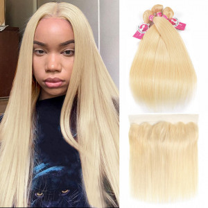 Alipearl Blonde Virgin Hair Color 613 Straight Hair 3 Bundles With Frontal