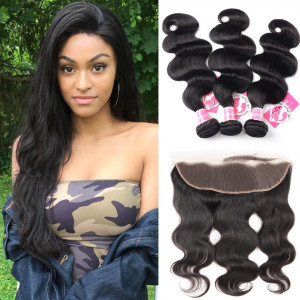 3pcs/packet Body Wave With 13*4 Lace Frontal Alipearl Peruvian Hair