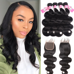 Ali Pearl Malaysian Virgin Hair 4pcs Body Wave with 4*4 Lace Closure