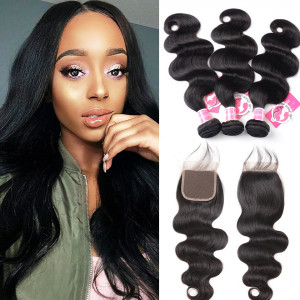Alipearl Hair 3 bundles Body Wave with lace closure Indian