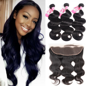 Ali Pearl Malaysian Virgin Hair 3pcs Body Wave with 13*4 Frontal