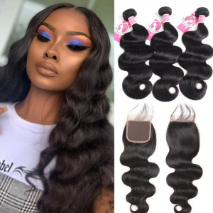 Ali Pearl Brazilian Body Wave Virgin Hair 3pcs with Lace Closure