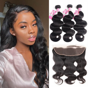 Ali Pearl Hair 3 Bundles Brazilian Body Wave with 13X4 Lace Frontal