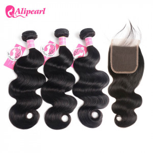 Alipearl Malaysian Hair 3pcs Body Wave with 4*4 Lace Closure