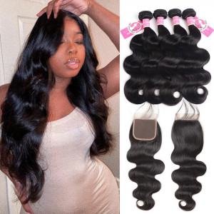 Brazilian Body Wave Virgin Hair 4pcs with Lace Closure Alipearl