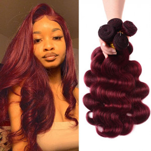 Burgundy #99J Brazilian Body Wave Bundles Human Hair Weave 4 PCs