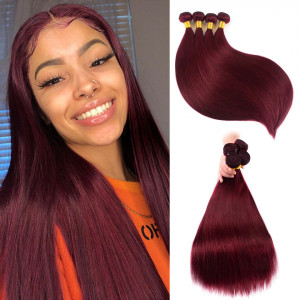 Burgundy Brazilian Hair Weave Bundles Straight Human Hair #99J Pure Color