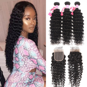 Ali Pearl Peruvian Human Hair 3pcs/packet Deep Wave With Lace Closure
