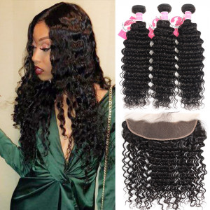 Alipearl Deep Wave 3 Bundles with 13*4 Lace Frontal Malaysian Virgin Hair