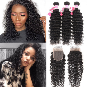 Alipearl Malaysian Virgin Hair 3 Bundles Deep Wave with Lace Closure