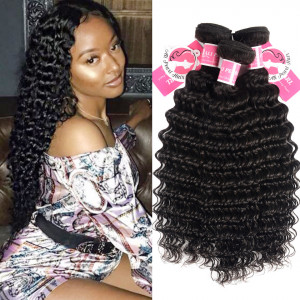 Alipearl Deep Wave 3 Bundles/Lot 1b Color Peruvian Hair