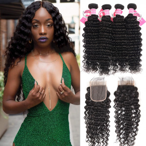 Unprocessed Peruvian Hair Deep Wave Bundles with Lace Closure