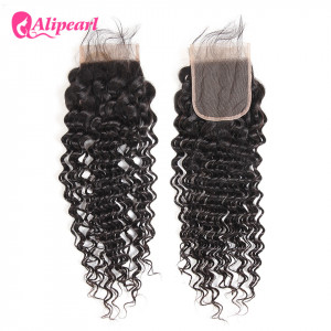 Alipearl Deep Wave Brazilian Virgin Hair 4X4 Lace Closure
