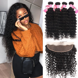 Ali Pearl Malaysian VIrgin Hair 4pcs Deep Wave with 13*4 Lace Frontal