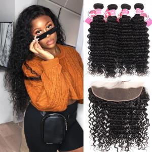 Alipearl Malaysian VIrgin Hair 4pcs Deep Wave with 13*4 Lace Frontal