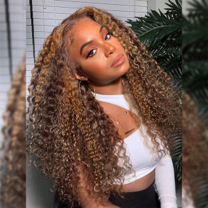 Highlight Wig Deep Wave Wig With Highlights Brown Wigs With Blonde Highlights Deep Curly Human Hair Wigs