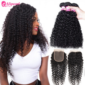 Ali Pearl Malaysian Virgin Hair 3pcs Curly with Lace Closure