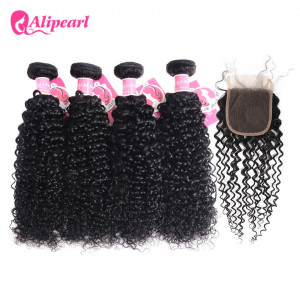 4pcs Curly with 4*4 Lace Closure Ali Pearl Unprocessed Indian Hair
