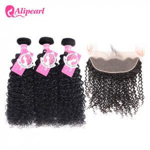 Alipearl 3 Bundles Kinky Curly with Lace Frontal Unprocessed Brazilian Hair