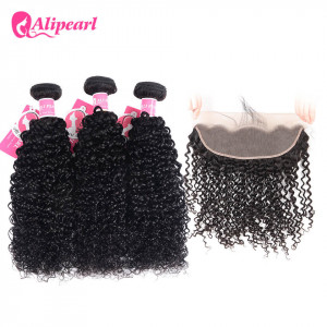 Alipearl 3pcs Kinky Curly with 13*4 Lace Frontal Indian Hair