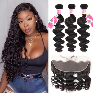 Alipearl 3 Bundles Loose Wave with 13*4 Frontal Malaysian Hair
