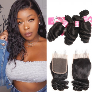 3pcs/lot Loose Wave with 4*4 Lace Closure Ali Pearl Indian Hair