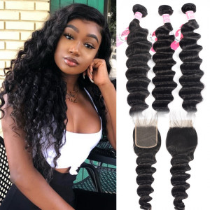 Alipearl Hair 3 Bundles Brazilian Loose Deep Wave with 4X4 Lace Closure